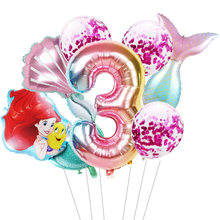 1 conjunto sereia ariel balões dos desenhos animados princesa balão de folha 32 Polegada número do bebê menina rosa baloes ar festa aniversário decoração crianças brinquedo