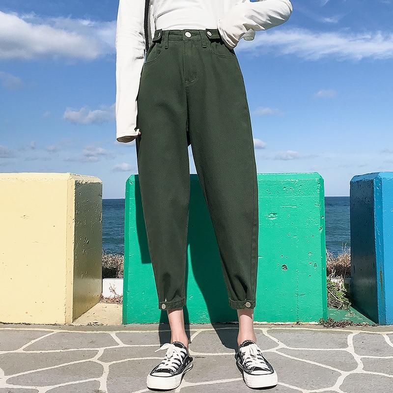 Green Jeans Woman High Waist Jeans Plus Size Denim Pants Ladies Harem Casual Red Jean Femme Spring Summer Vaqueros De Mujer