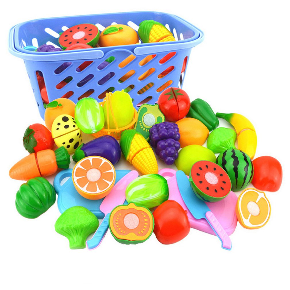 25PCS Children Kitchen Pretend Play Toys Cutting Fruit Vegetable Food Miniature Play Classic Kids Toys Playset Educational Toys