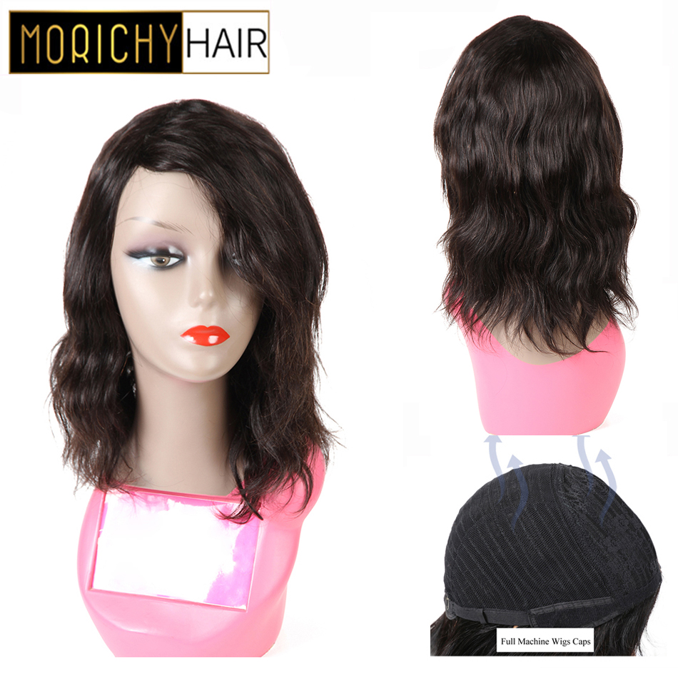 Morichy Body Wave Bobs Wigs Malaysian Non-Remy Real Human Hair Full Wigs Medium Length Natural Black Wave Glueless Wig For Women