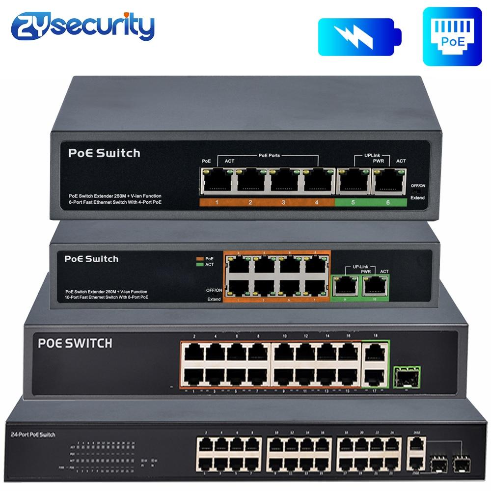4 8 16 24 Port Network Ethernet Poe Switch Gigabit 48V Wireless AP 250M IEEE 802.3 Af/at Power Over Ethernet For PoE Camera IP