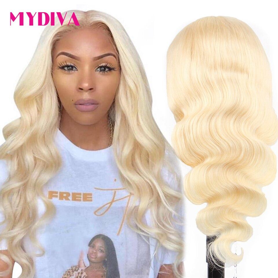 613 блонд человеческие передние парики, средняя часть 5 дюймов глубокая часть Реми бразильские волнистые передние парики предварительно ото...