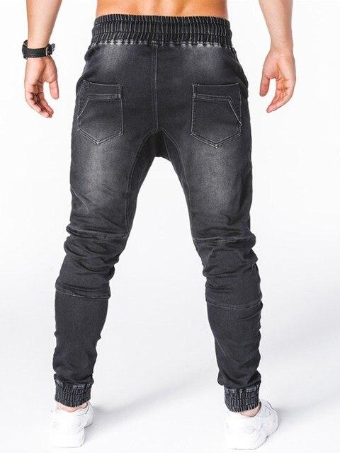 Pantalones vaqueros ajustados azules y grises para hombre, pantalón vaquero negro con cremallera, pantalones pitillo de color puro para Vaqueros, pantalones de locomotora 5