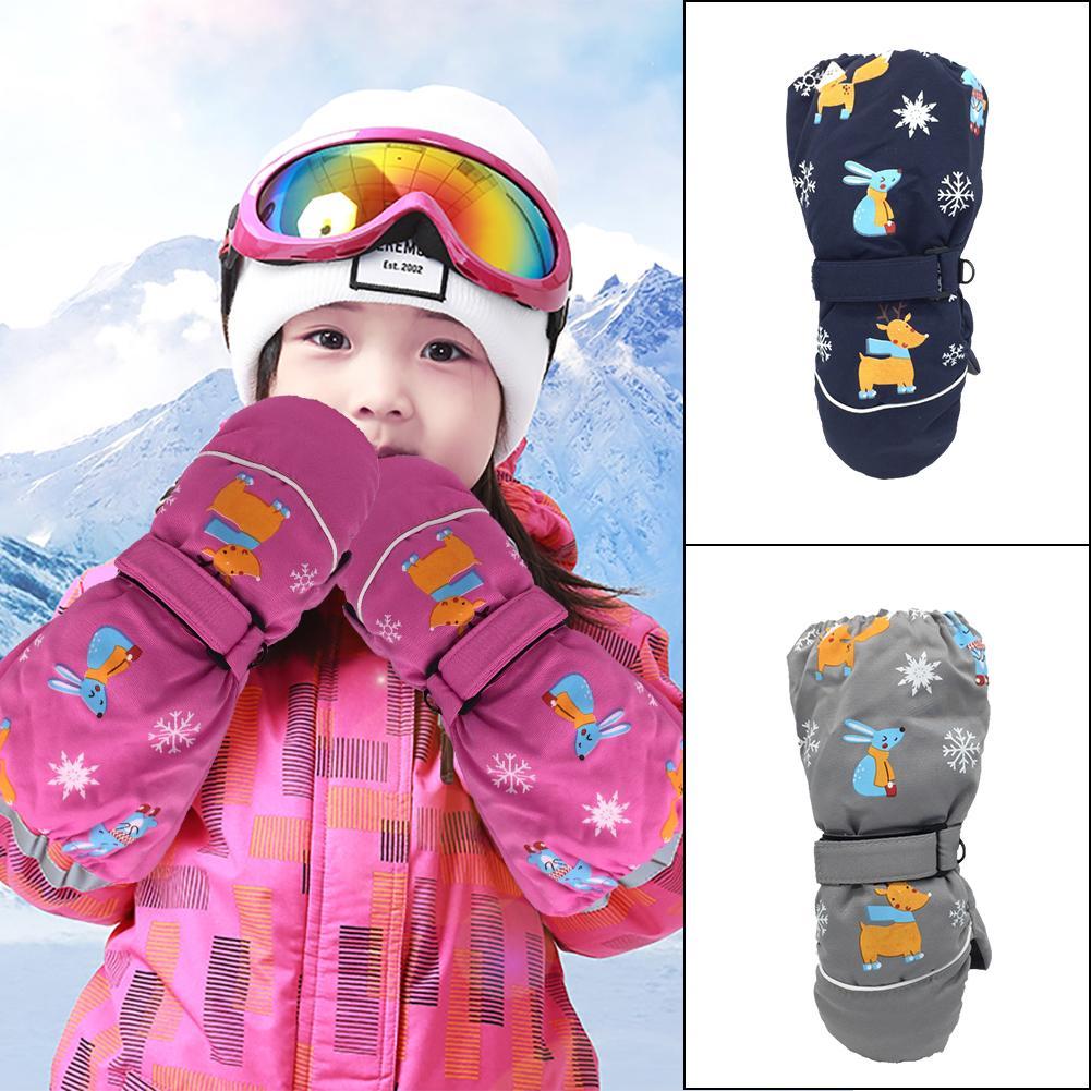 Winter Children Ski Gloves Cartoon Printed Thicken Warm Gloves Kids Windproof Waterproof Long-sleeved Mittens Cycling Sport