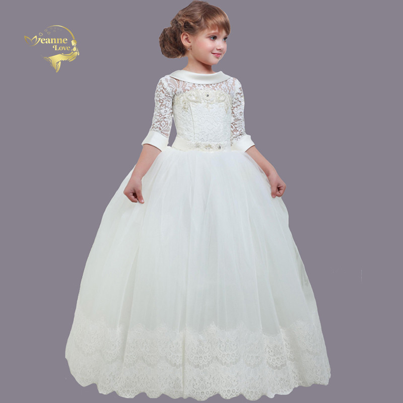2020 New Girls Pageant Dresses For Little Girls Toddler Kids Ball Gown Beaded Lace Glitz Flower Girl Dress First Communion Gowns