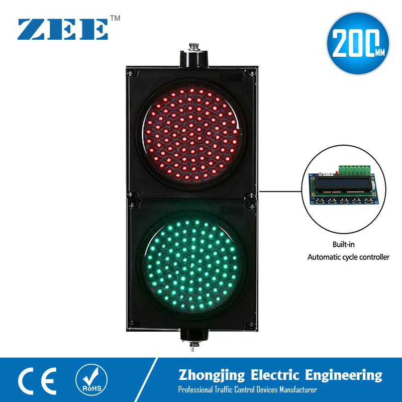 Automatic Cycle Running Controller 8inches 200mm LED Traffic Light Red Green Traffic Signals 220V LED Light
