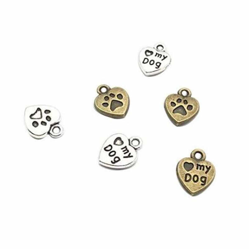 20 قطعة/الحقيبة خمر المعادن 10x13 مللي متر البسيطة القلب حلية على شكل كلب DIY الأزياء والإكسسوارات قلادة جالبة للحظ لصنع المجوهرات الأقراط سوار