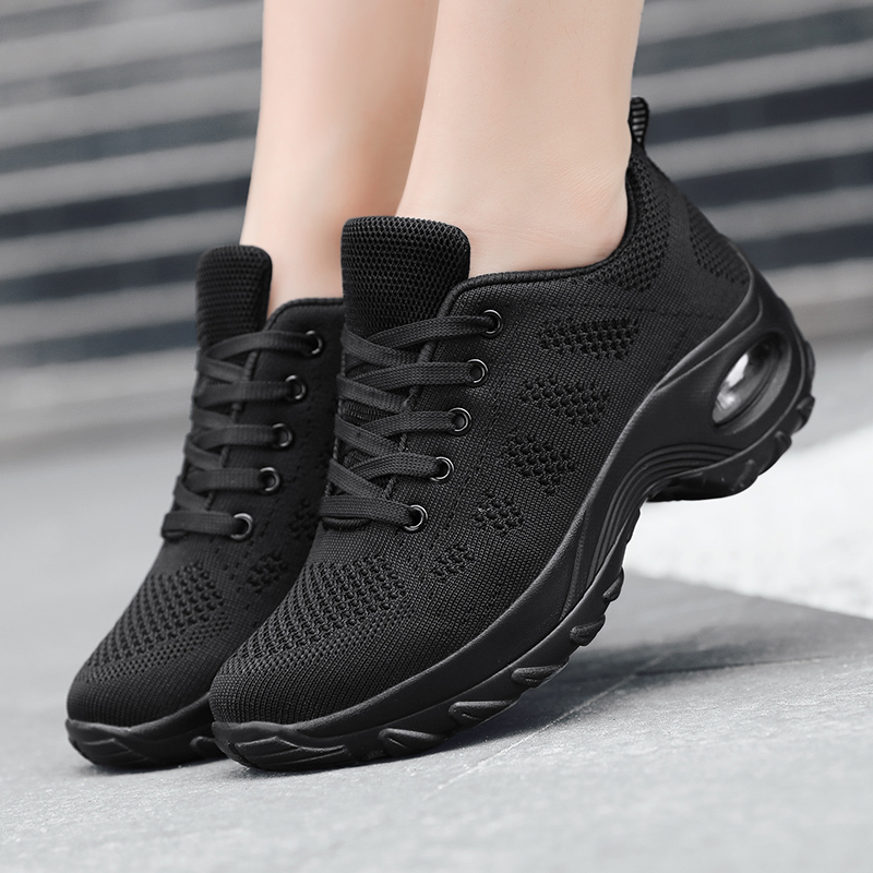 Female High Wedge Casual Shoes Women Breathable Free Run Ladies Purple Running Shoes Anti-slip Flying Air Cushion Girl Trainers