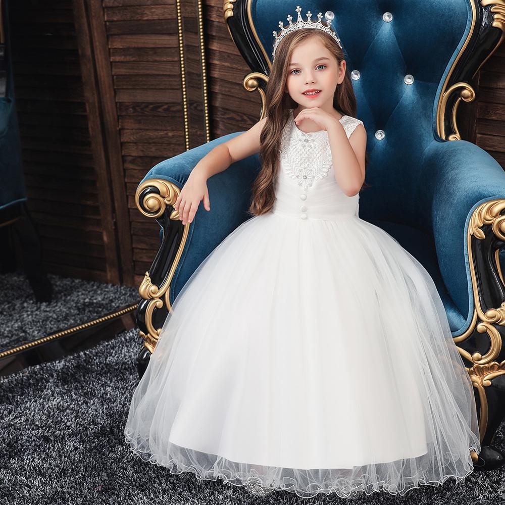 Elegante Vestido De Princesa De Fiesta De Flores Para Niñas
