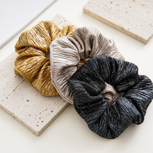 Silver Gold Head Rope Fashion Scrunchies Faux Leather Elastic Hair Ring for Women Girl Ponytail Holder Hair Accessories