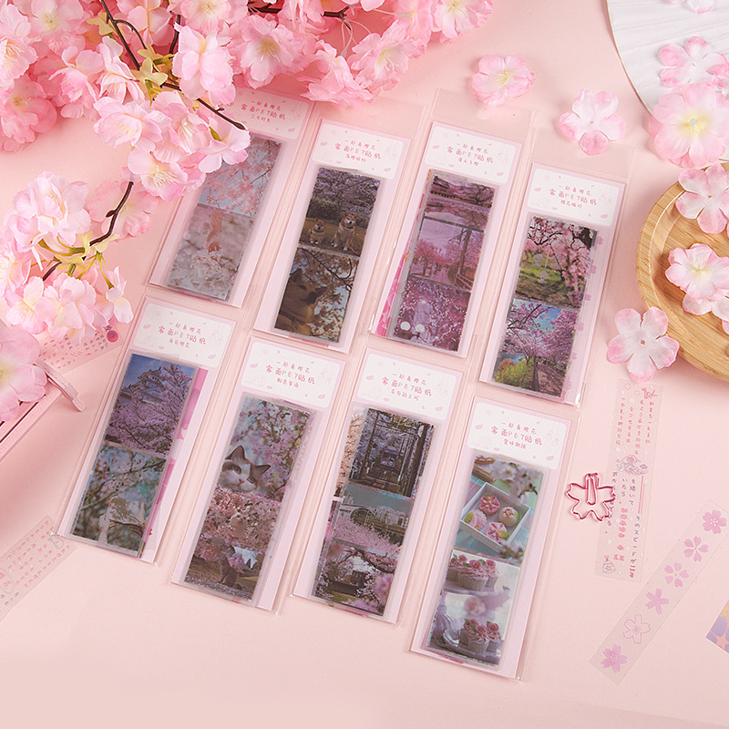 10 Pcs/set Matte Handle Sakura Scenery Pet Stickers Diy Diary Scrapbooking Bullet Journal Stickers Stationery Label Sticker