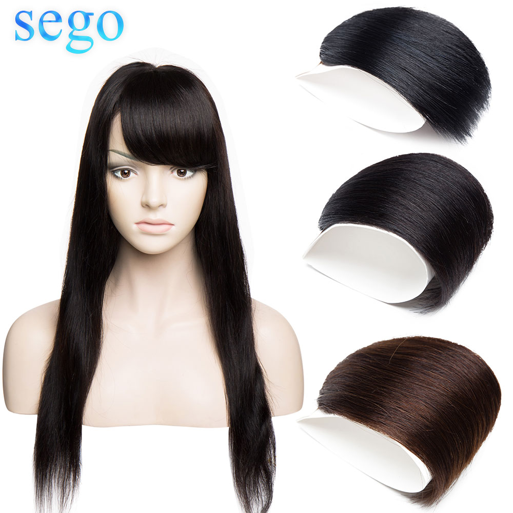SEGO 10x12 Human Hair Bangs Small Side Gradient Bangs Straight Clip In Hair Extension Non-Remy Human Hair Fringes 10g/Pcs