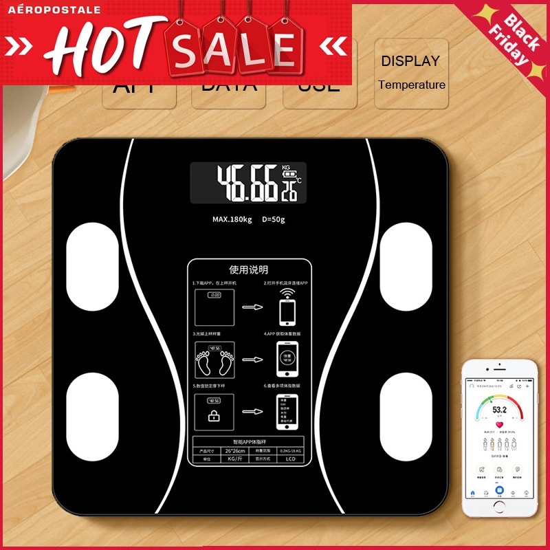 Body Fat Scale Weight Scales Bluetooth Electronic Weighing For Body Digital Weight Floor Scales Toughened Glass Lcd Display