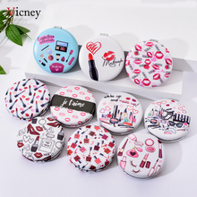 Vicney 2019 New Arrival Portable Makeup Mirror Fashion Cute Lipstick Pattern Round Double-Side Pocket Beauty Accessories