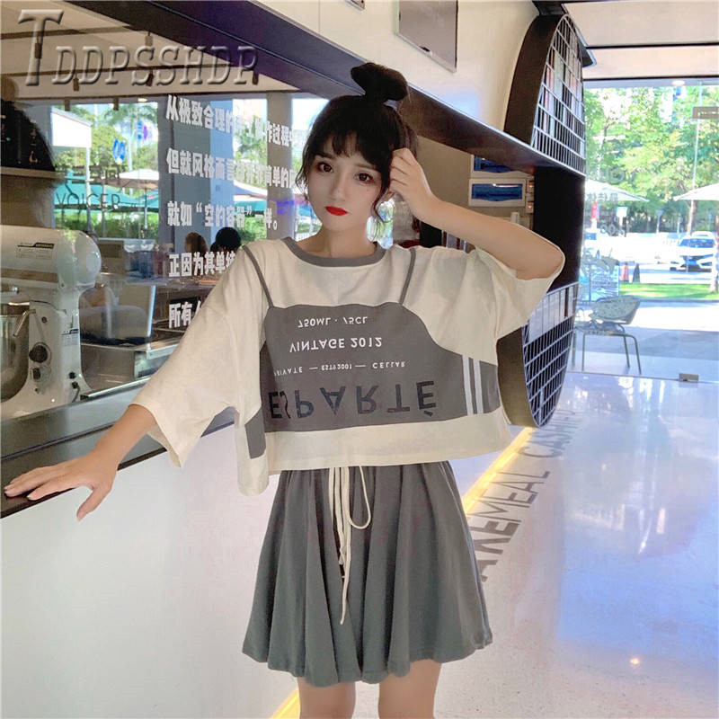 2020 Preppy Style Korean Loose Women Sets Casual T Shirt And Shorts Female Sets