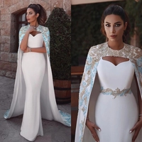 2010 Elegant Royal White Mermaid Evening Gowns With Cloak Delicate Lace Appliques Beaded Long Formal Party Dresses Vintage Morocco Prom Gowns