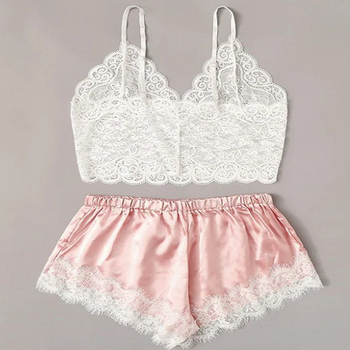 Floral Lace Cami Top With Satin Shorts Lingerie Set Women 2020 Summer Sexy s Ladies Bra And Panty Underwear lace trim checked cami with shorts