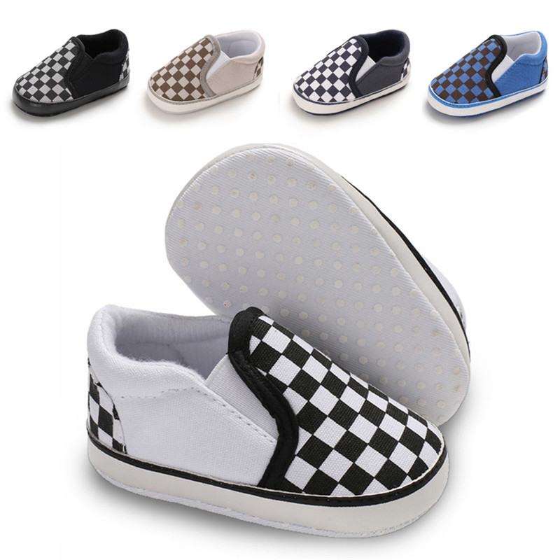 Baby Boy Shoes Girl Newborn Toddler Sneaker Casual Canvas Gingham Soft Cotton Sole Light Weight First Walkers Infant Crib Shoes