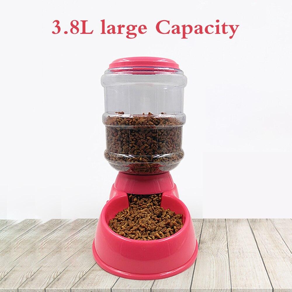 Dispenser automatico di alimenti per animali domestici 3.8L grande capacità auto-erogazione gravità alimentatore per animali domestici Waterer ciotola per alimenti per cani acqua per bevande 2