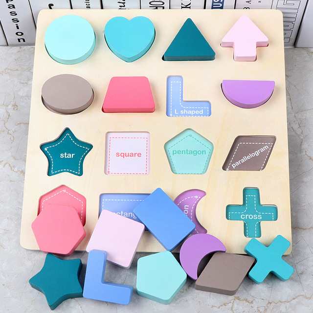 New Baby Early Learning Educational Toys Kids Digital/ Alphabet/ Shape Cognitive Jigsaw Board Children 3D Wooden Puzzle Toy Game