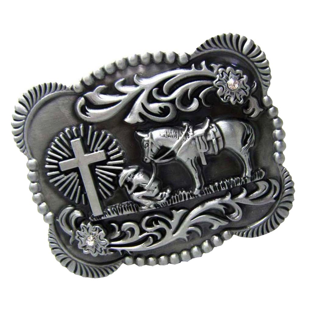 Antique Silver Horse Rider Western Cowboy Belt Buckle Classic Vintage Buckle For Leather Belt