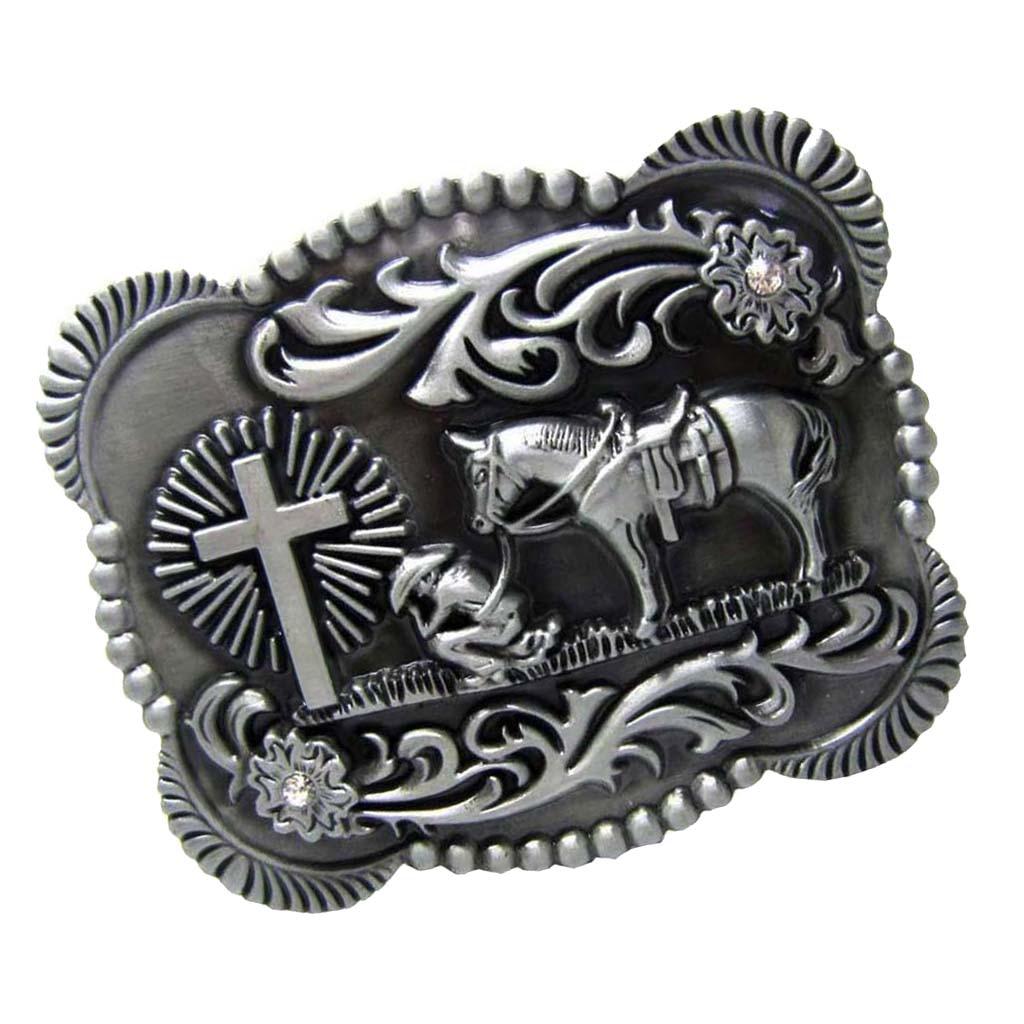 Antique Silver Horse Rider Western Cowboy Belt Buckle Classic Vintage Buckle For Leather Belt