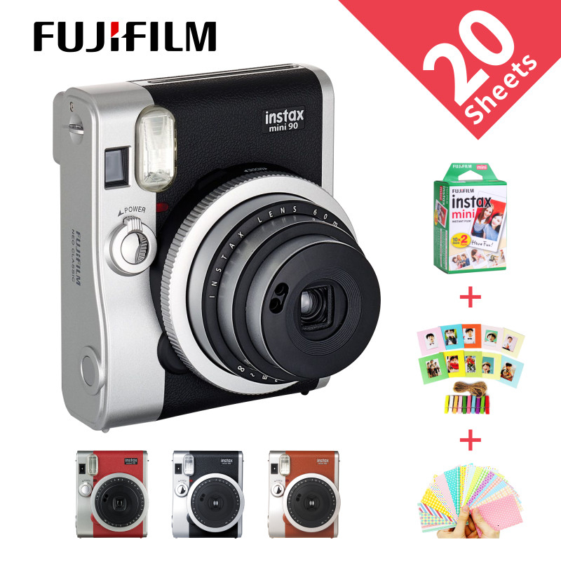 Fujifilm véritable Instax Mini 90 films caméra offre spéciale nouvelle photo instantanée 2 couleurs noir marron
