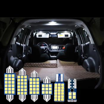 6pcs Car LED Bulb Auto Interior Dome Reading Lamps Vanity Mirror Trunk Lights For Toyota RAV4 2009-2013 2014 2015 2016 2017 2018 image