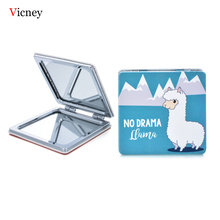 Vicney 2019 New Portable Pocket Square Leather Makeup Mirror Gift Fashion Personality Cute Macarons Folding
