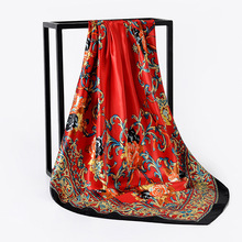 90*90cm Fashion Kerchief Hair Scarf For Women Floral Printed Silk Satin Bandana Head Scarfs Square Neck Scarves and Shawls Wraps