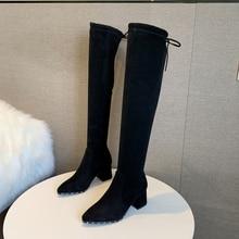 Botas de tacón alto por encima de la rodilla para mujer, zapatos de tejido elástico, botas negras gruesas, primavera 2021