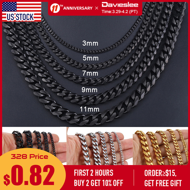 Stainless Steel Chains Necklace for Men Black Gold Silver Color Mens Necklace Curb Cuban Jewelry Gifts 3/5/7/9/11mm DLKNM09 1