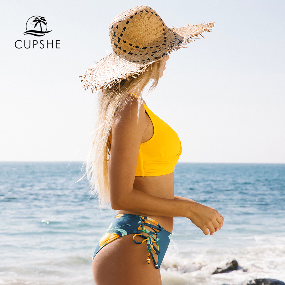 Yellow And Lemon Print Mid-Waist Bikini Sets 3