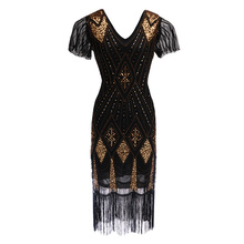 Robe Femme Roaring 1920s Flapper Dress Gatsby Party Charleston Sequined Cocktail
