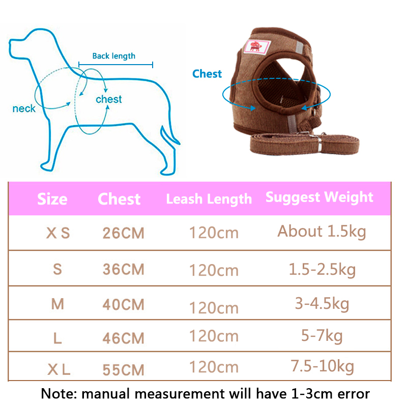 Pet Dog Cat Harness with Leash Adjustable Vest Walking Supplies Soft Breathable Collar Puppy for Small