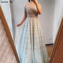 Silver Off Shoulder Short Sleeve  Evening Dresses 2020 Dubai A Line Beading Diamond Evening Gowns Serene Hill LA70263