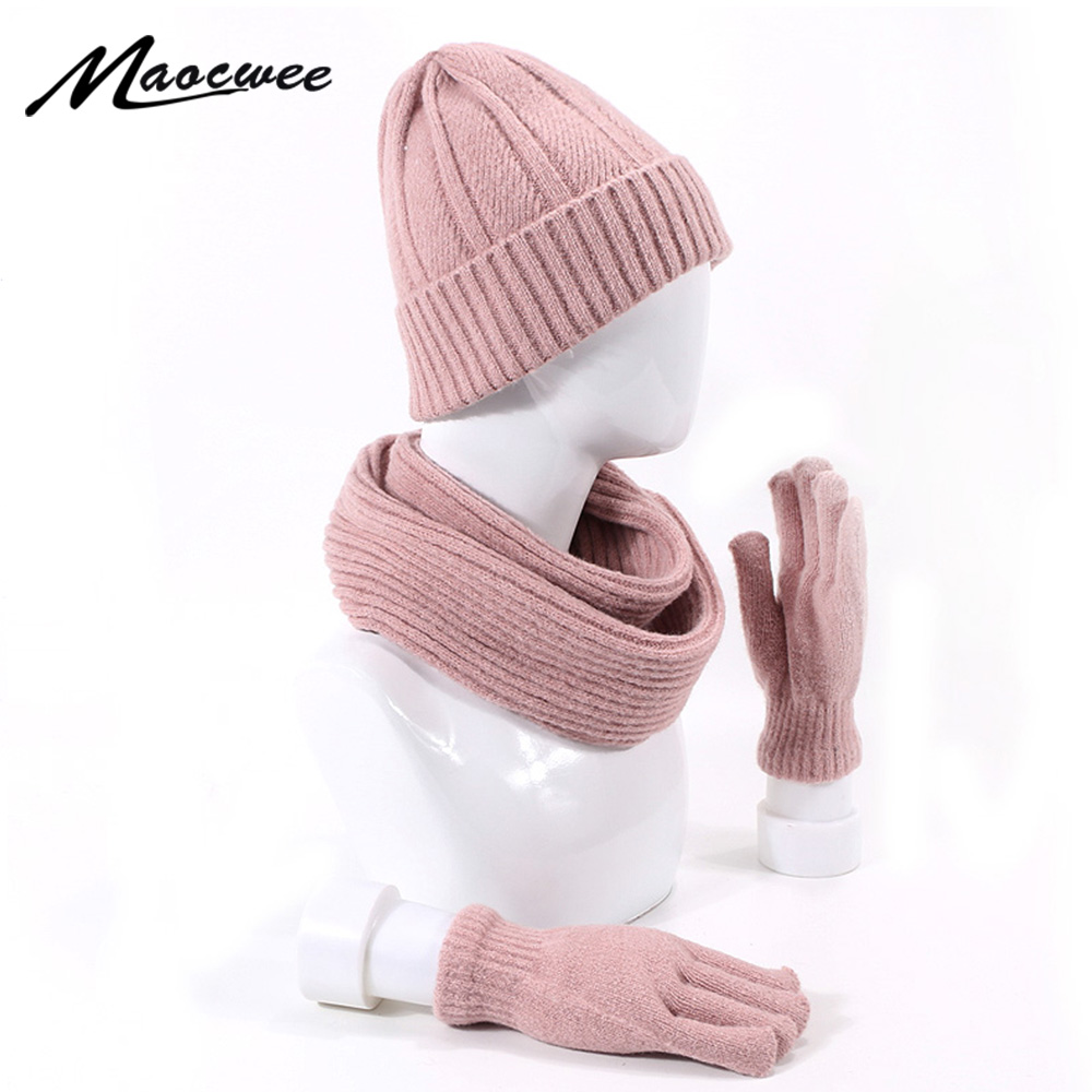 Beanie Hat Ring Scarves Full Finger Gloves Set For Women And Men Outdoor Soft Neck Balaclava Bonnet Beanie Hats Scarf Gloves Set