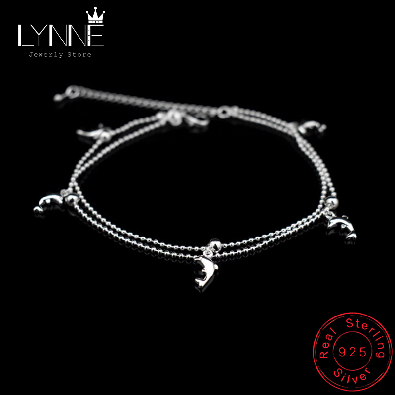 New Fashion Dolphin Pendant Small Round Ball Bead Anklet Bracelet 925 Sterling Silver Dolphin Ankle Chain For Women Jewelry Gift