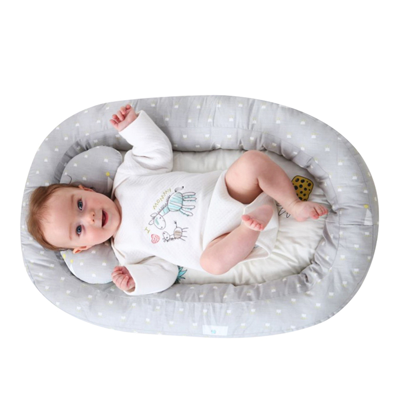 Cotton Baby Nest Bionic Bed Removable Pillow Portable Newborn Crib Sleeping Pad Infant Travel Bed Cradle Beds Prevent Rollover|Pillow|   - AliExpress