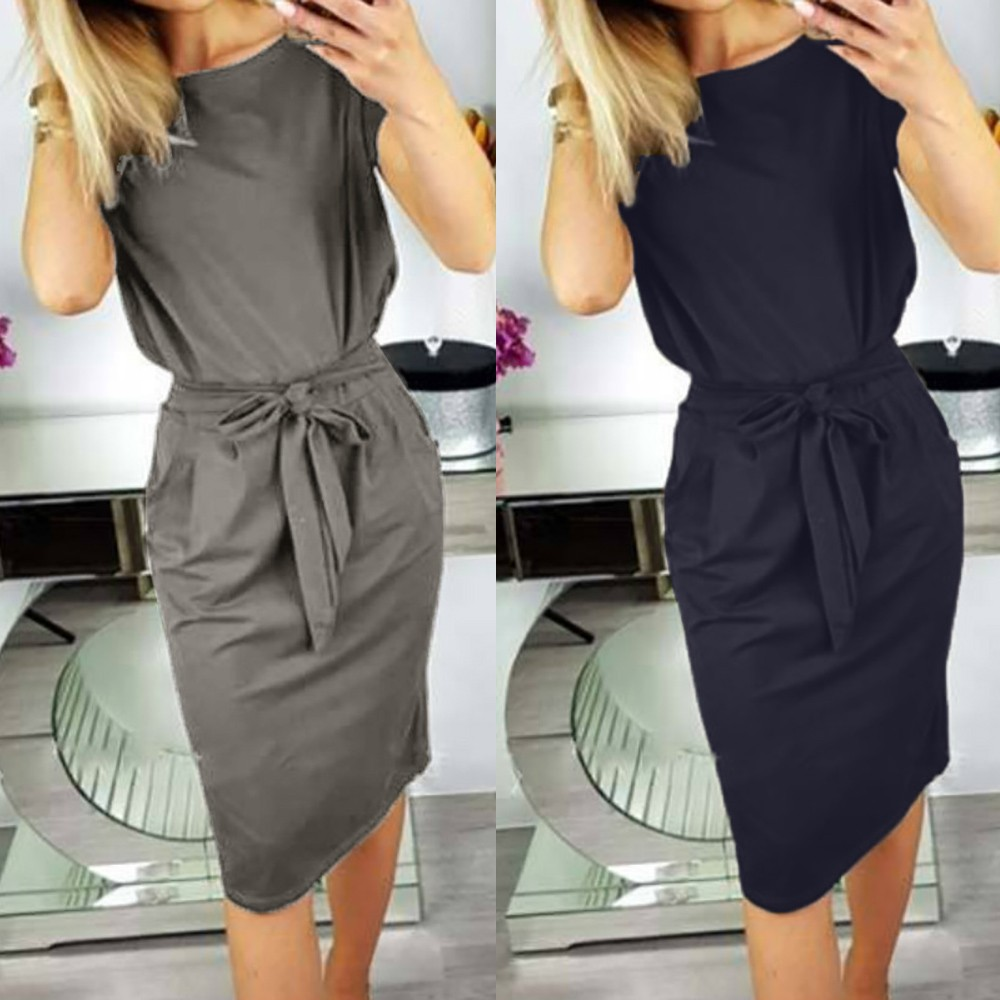 Dress Fashion Womens Casual Pocket Ladies Short Sleeve Dress Evening Party Dress Women's Short Sleeve Solid Color Pocket Dress