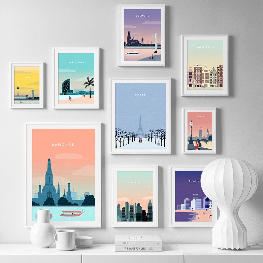 Paris London Berlin Travel Poster Vintage Wall Art Canvas Painting Nordic Posters And Prints Wall Pictures For Living Room Decor