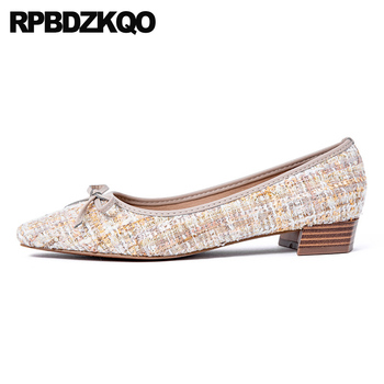 2019 china spring autumn square toe bow shallow designer chinese large size slip on women flats shoes with little cute bowtie