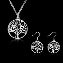 Europe and America Round Hollow Life Tree Pendant Necklace Earrings Set Punk Wind vintage Simple Jewelry for women choker 2pc(China)