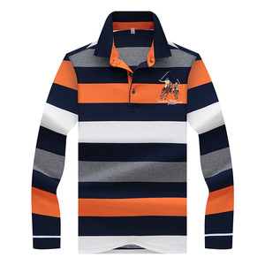 Image 3 - Hollirtiger 2019 outono primavera dos homens camisa polo masculino turn down collar algodão polo camisa masculina manga longa listras bordadas t