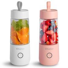 350ml Mini Portable Electric Fruit Juicer USB Rechargeable Smoothie Maker Blender Machine Sports Bottle Juicing Cup high quality 350ml usb charging mini bottle juicer