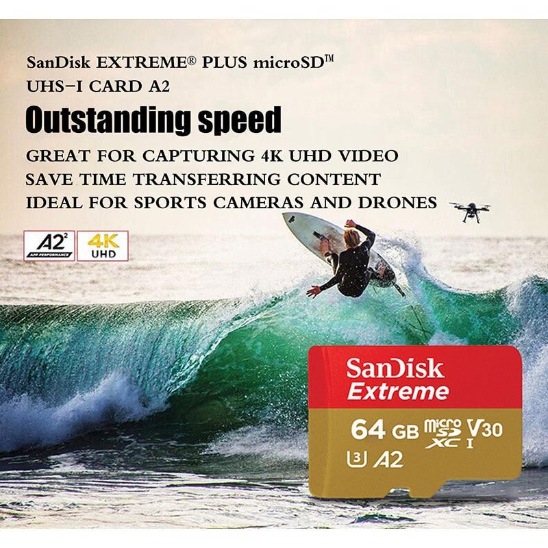 SanDisk Extreme Micro SD карта 32 Гб 64 Гб карта памяти 128 ГБ UHS-I U3 V30 A2 4K Micro SD 256 Гб 400 ГБ TF/SD карта класса 10 SDHC SDXC-1