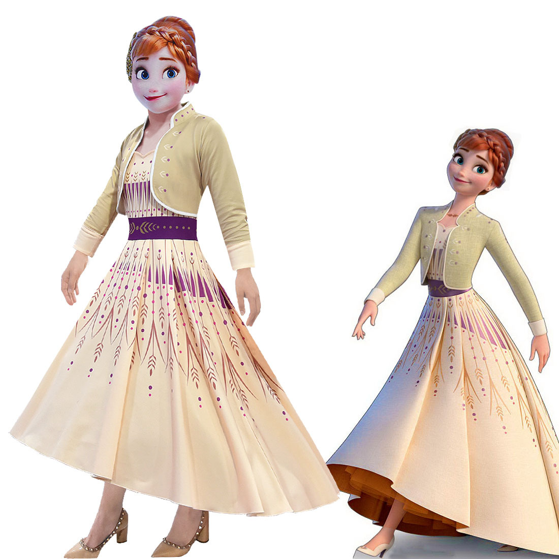 Frozen 2 Queen Anna Dress Cosplay Costumes For Kid Girls Party Princess Vestidos Child Clothing Dress/Wig/Bag/Mask /Crown C92K08