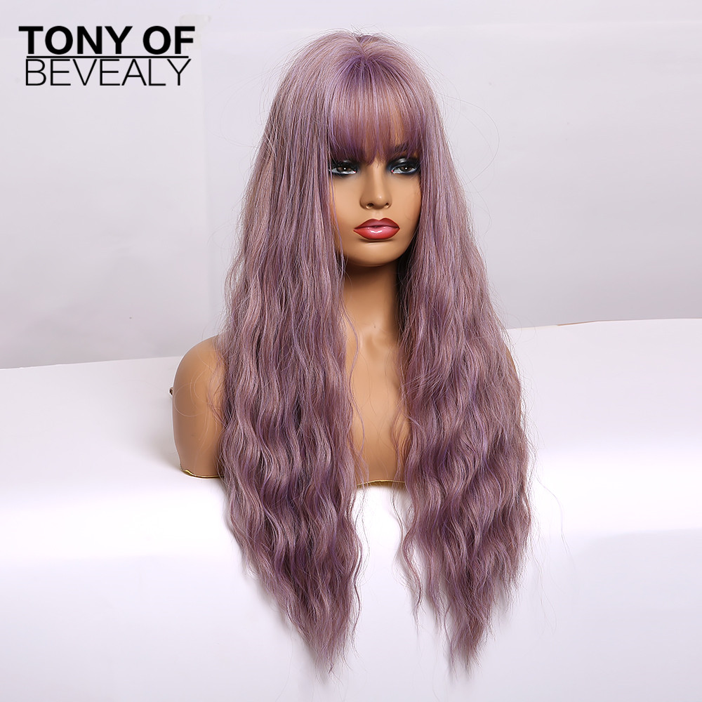 Image 5 - Synthetic Wigs Long Wavy Light Brown Natural Hair Wigs With Bangs for Women African American Fluffy Hair Heat Resistant FiberSynthetic None-Lace  Wigs   -