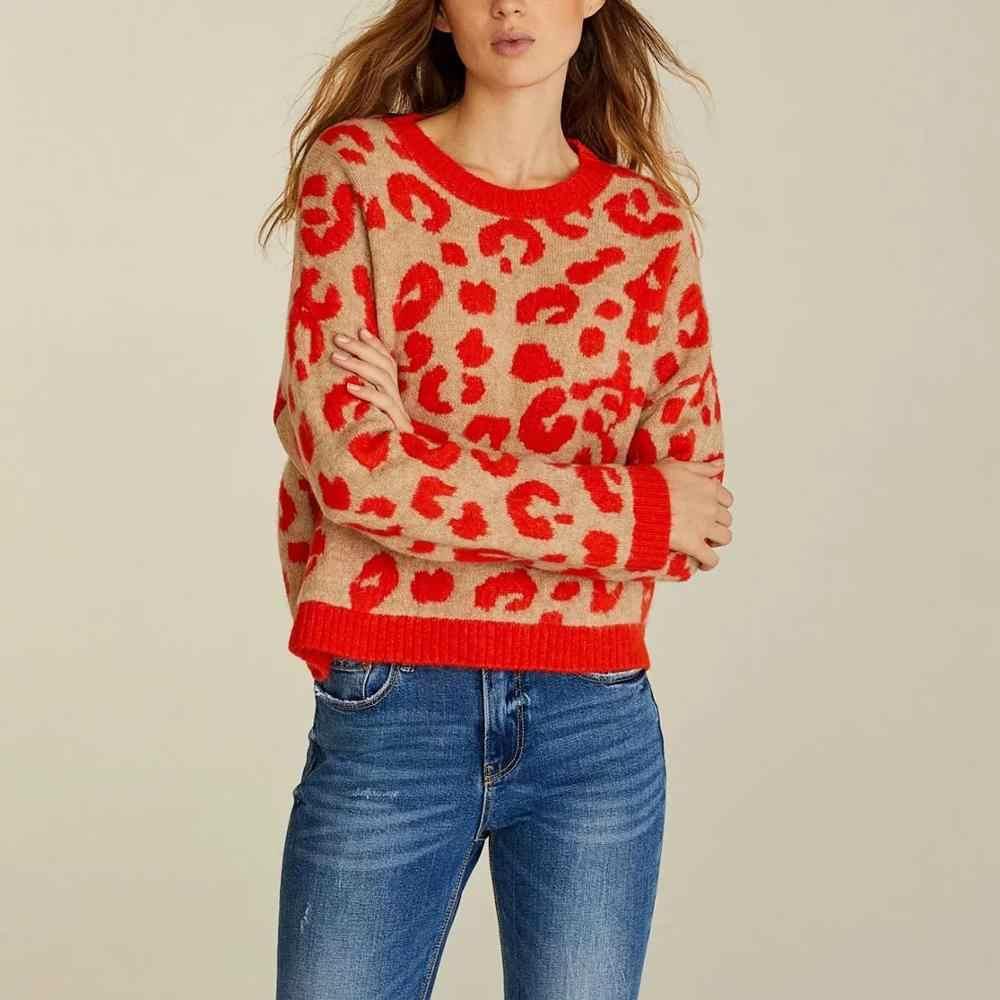 ZA zimowa ciepła koszulka luźny, dzianinowy gruby wzór zwierzęcy sweter żakardowy damski sweter casual pull oversize woman jumper