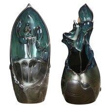 Ceramic Backflow Incense Burner Lotus Shape Waterfall Eco-friendly Handmake Incense Holder for Desktop Incense Home Decoration